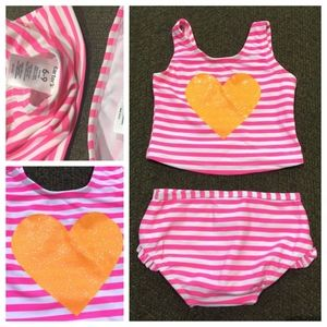 Carter's 6-9 pink/white tankini swimsuit two piece